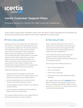 ICM Customer Support Plans datasheet