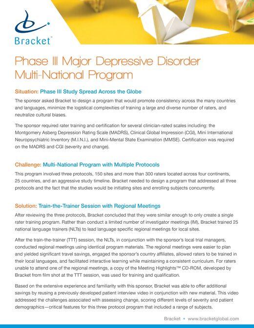A Multi-Protocol, Global Phase III Schizophrenia Program - Rater Training Case Study