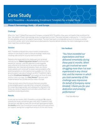 WCG ThreeWire– Phase II Dermatology Study