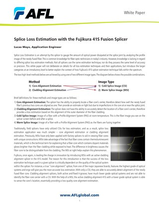 White Paper: Splice Loss Estimation with the Fujikura 41S Fusion Splicer