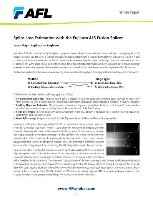 White Paper: Splice Loss Estimation with the Fujikura 41S Fusion Splicer