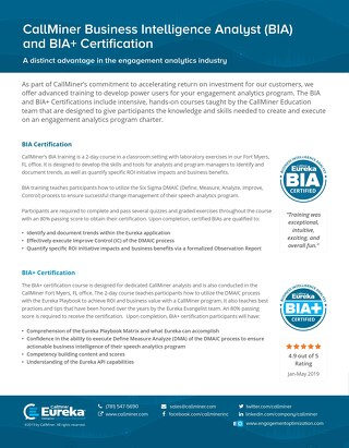 BIA and BIA+ Certification