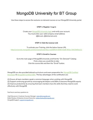 MongoDB University for BT Group