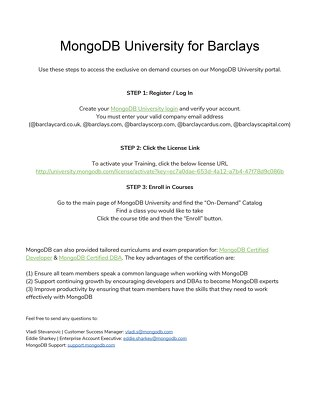 MongoDB University for Barclays