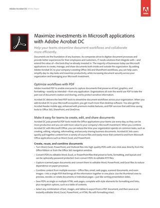 Mazimize Investments in Microsoft Applications with Adobe Acrobat DC