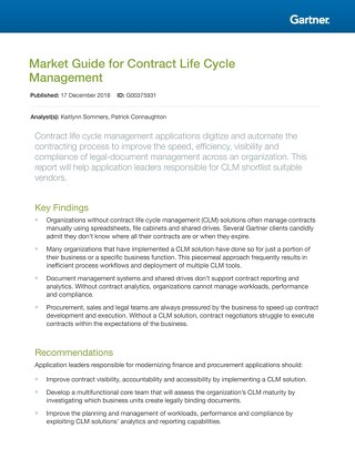 Gartner: 2018 Market Guide for Contract Life Cycle Management
