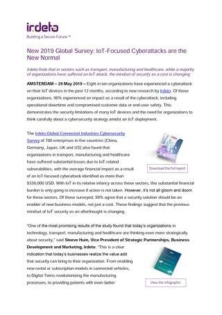New 2019 Global Survey: IoT-Focused Cyberattacks are the New Normal
