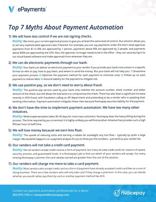 Viewpoint ePayments Top 7 Myths About Payment Automation