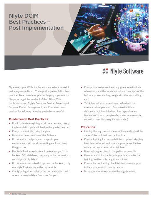 Nlyte DCIM Post Implementation Best Practices