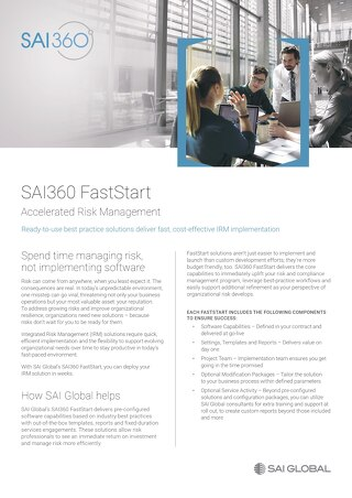 SAI360 FastStart Sell Sheet - A4 Format