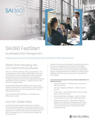 SAI360 FastStart Sell Sheet