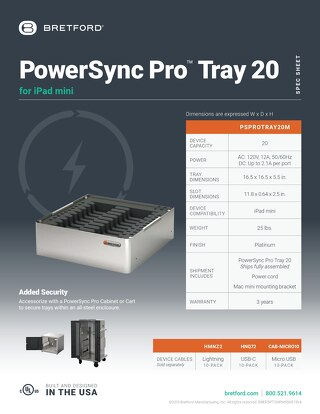 PowerSync Pro Tray 20 for iPad mini Spec Sheet