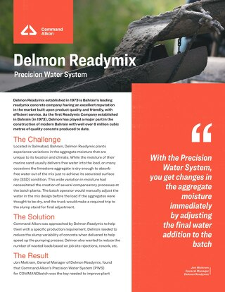 Delmon Readymix Precision Water System Case Study