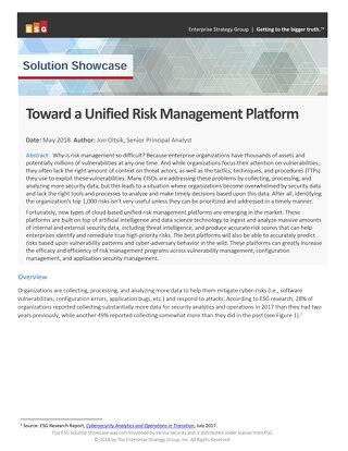 ESG Solution Showcase – Unified Risk Management Platform