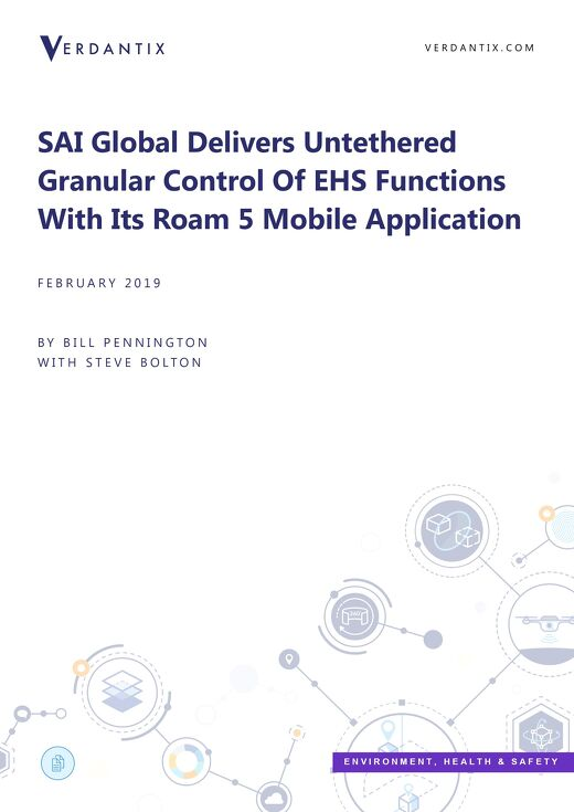 Verdantix SAI Global Delivers Control Of EHS Functions With Its Roam 5 Mobile Application