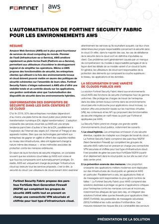 L'automatisation de Fortinet Security Fabric pour les environnements AWS