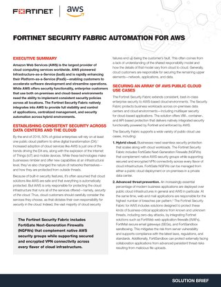 Fortinet Security Fabric Automation For AWS