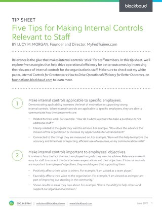 Tipsheet: Five Tips for Making Internal Controls Relevant to Staff