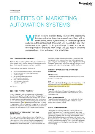 White paper: Benefits of marketing automation systems