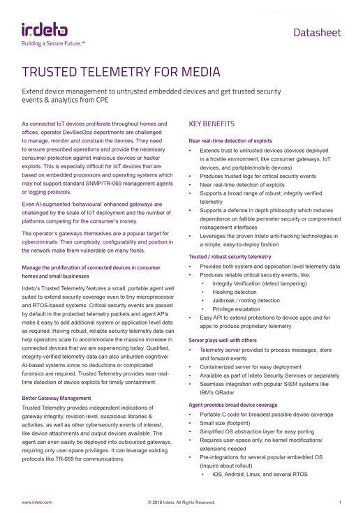 Datasheet: Trusted Telemetry for Media