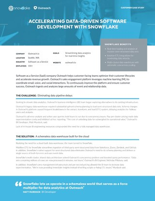 Accelerating Data-Driven Software Development with Snowflake