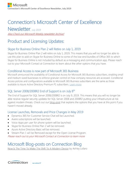Connections Microsoft Center of Excellence Newsletter - July 2019