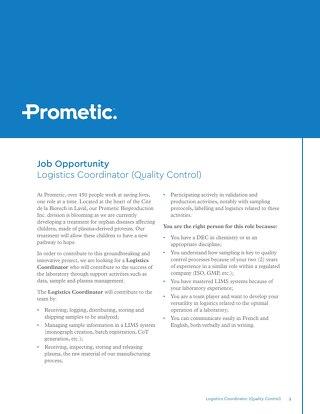 Logistics Coordinator (Quality Control)