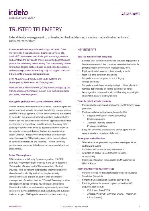 Datasheet: Cloakware® Trusted Telemetry for Medical Apps