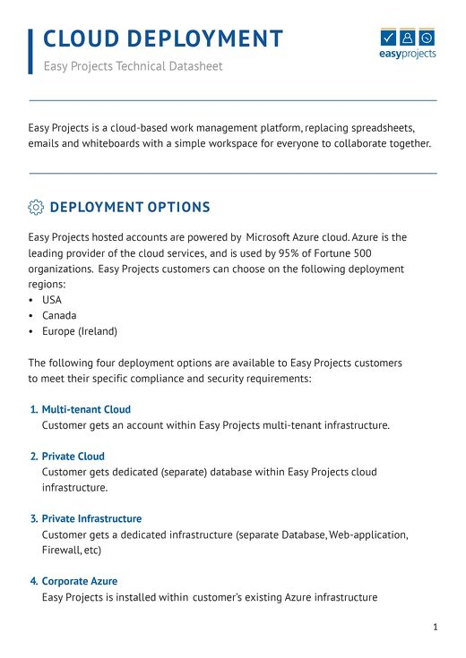Easy Projects Cloud Deployment Datasheet