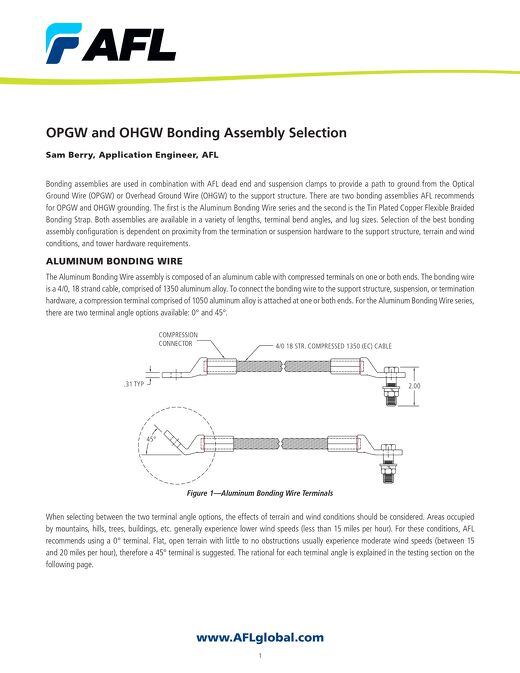 OPGW and OHGW Bonding Assembly Selection
