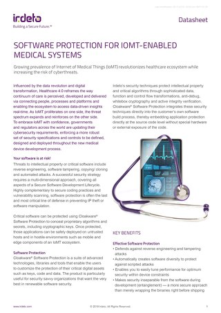 Datasheet: Cloakware® Software Protection for Medical Apps