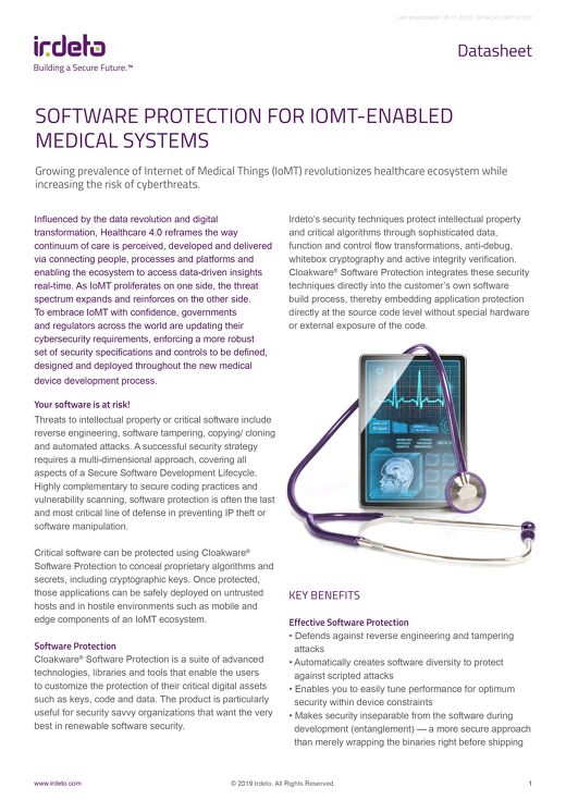 Datasheet: Software Protection for IoMT-Enabled Medical Systems