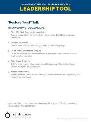 Restore Trust Talk - Tool