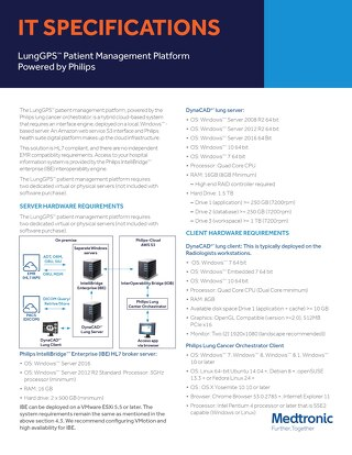 IT Specifications: LungGPS™ Patient Management Platform