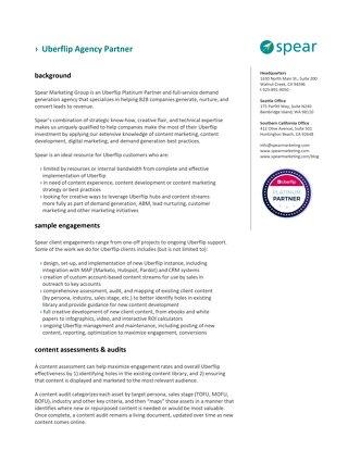 Spear Marketing Group - Capabilities Sheet