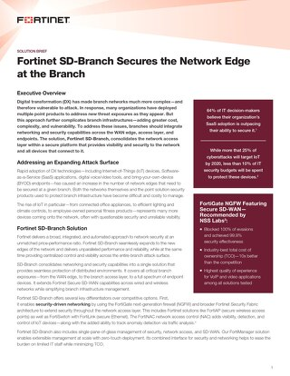 Fortinet SD-Branch Secures the Network Edge at the Branch