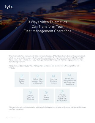 3 Ways Lytx helps Transform Fleet Operations