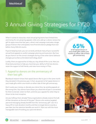 White Paper: 3 Annual Giving Strategies for FY20