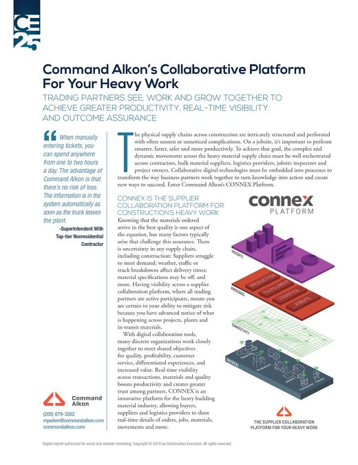 """Command Alkon Featured as Construction Executive's """"25 Companies Making Construction More Productive and Profitable"""""""