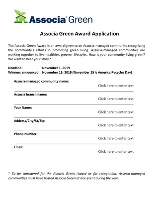 2019 Associa Green Award Application