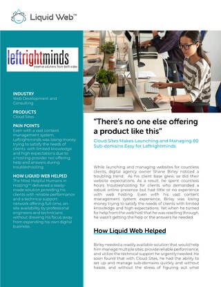 """There's no one else offering a product like this"" - Leftrightminds Case Study"