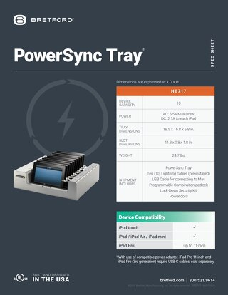PowerSync Tray Spec Sheet