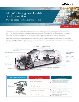 aPriori Auto Manufacturing Cost Models Datasheet