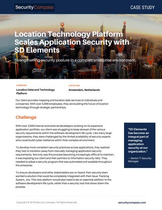 Location Technology Platform Scales Application Security with SD Elements