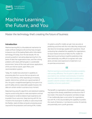 Machine Learning, the Future, and You - Whitepaper