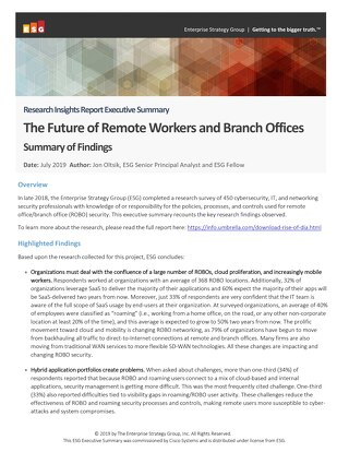 Research Insights Report Executive Summary: The Future of Remote Workers and Branch Offices