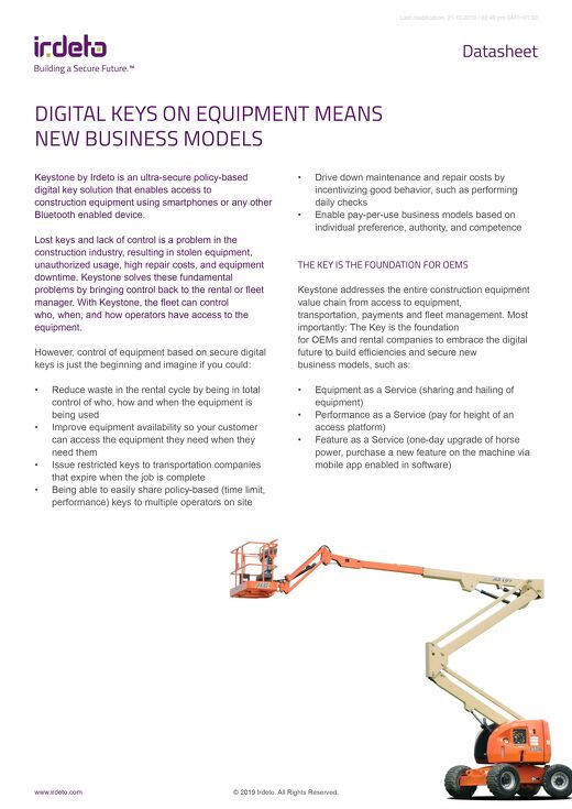 Datasheet: Digital Keys on Equipment means New Business Models