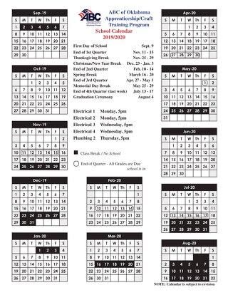 2019-2020 Apprenticeship Calendar