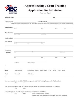 2019 2020 Apprenticeship Enrollment Documents