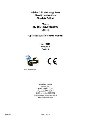 [Manual] LabGard CYTO NU-581E Class II, Type A2 Biosafety Cabinet (230V)